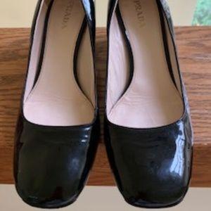 Prada Black Patent Leather Block Heel Shoe